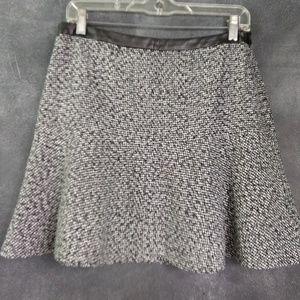 HINGE | Black & White Tweed Flounce Mini Skirt